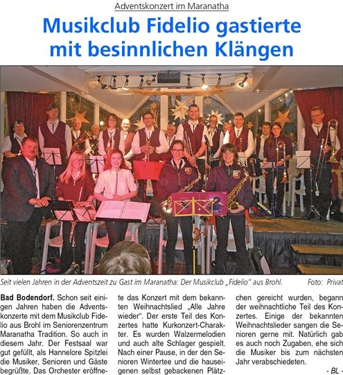 Adventskonzert im Maranatha: Der Musikklub Fidelio gastierte mit besinnlichen Klängen.