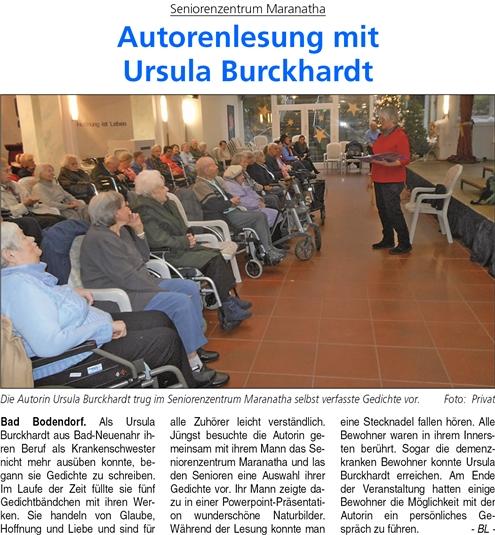 Autorenlesung im Maranatha mit Ursula Burckhardt.