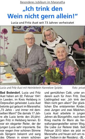 Besonderes Jubiläum im Maranatha: Lucia und Fritz Aust sind seit 73 Jahren verheiratet.