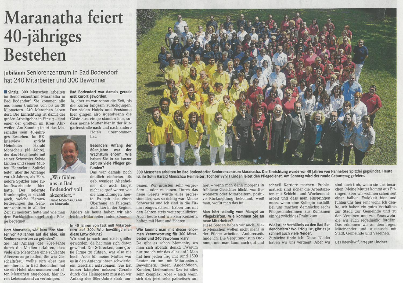 Das Maranatha SeniorenZentrum in Sinzig Bad Bodendorf feierte 2014 sein 40jähriges Bestehen.